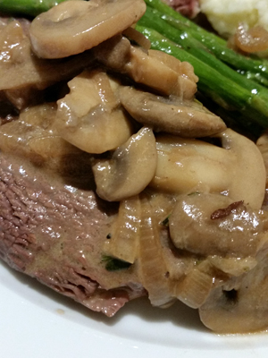 Seared Strip Steak with Mushroom Sauce